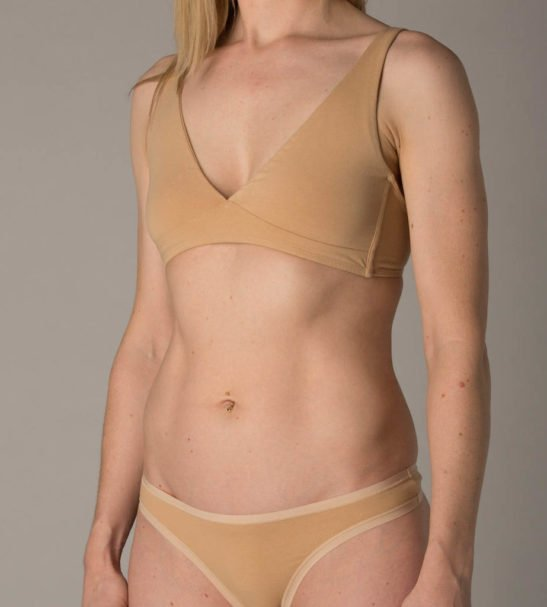 Woman Wearing the Nude Tong Set Non wired Bralette Front View by YOU Underwear at Nurture Collective