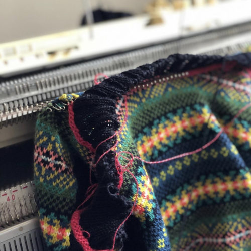 The making of a Faraway Gang Jumper on a Knitting machine for Nurture Collective Bog