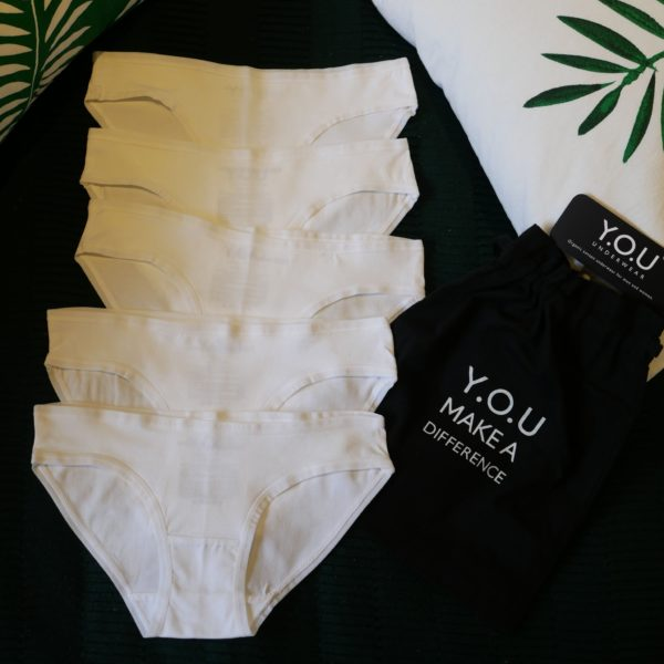 Women's organic cotton low-rise bikini - pack of 5 in White by YOU Underwear at Nurture Collective