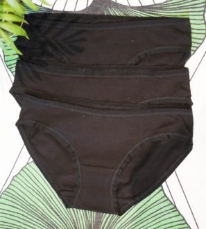 Women's organic cotton low-rise bikini - pack of 3 in Black by You Underwear at Nurture Collective
