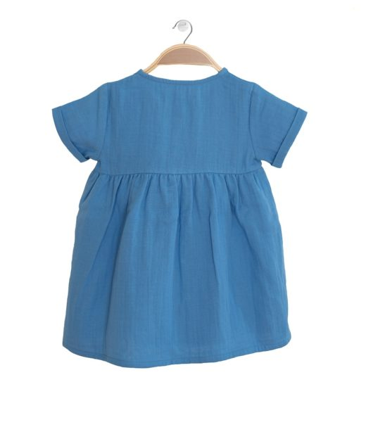 Back view of the Harmony Blue Lagoon Cotton Summer Dress in Blue by Peter Jo at Nurture Collective
