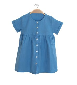 Front view of the Harmony Blue Lagoon Cotton Summer Dress in Blue by Peter Jo at Nurture Collective