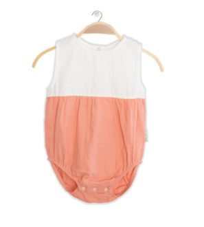 Front of Peach Lullaby Onesie by Peter Jo at Nurture Collective