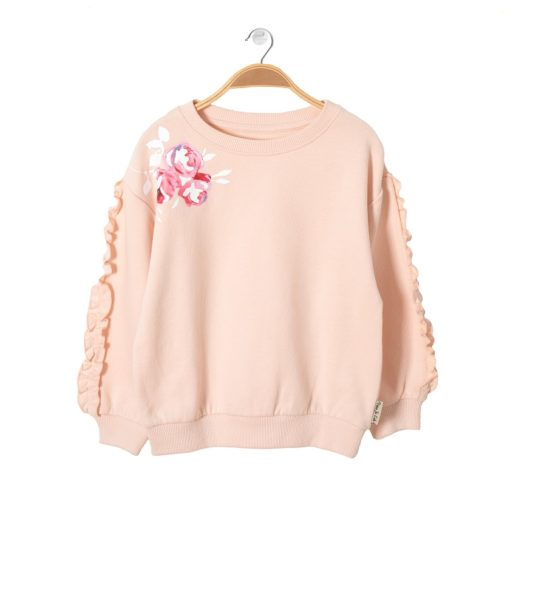 Front of Girls Sweatshirt Fairy Pink by Peter Jo at Nurture Collective