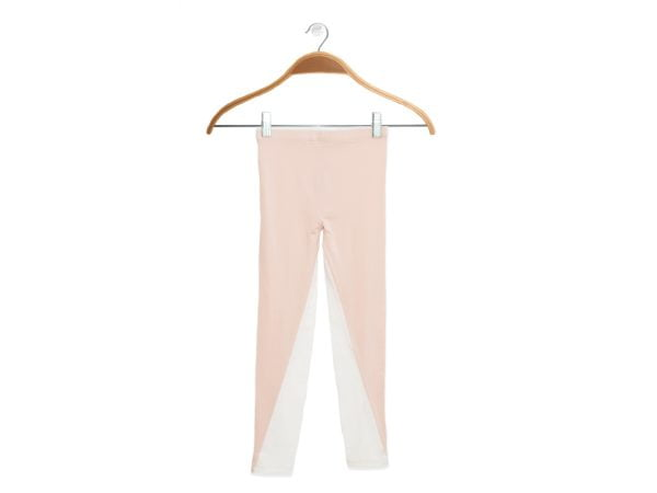 Front of Girls Pink/White Inversion Leggings by Peter Jo at Nurture Collective