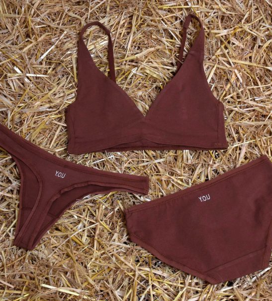 The chestnut set of organic bralette and bikini pants and thong by You Underwear at Nurture Collective