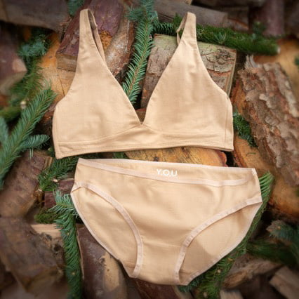 The set of organic nude bralette and bikini pants by You Underwear at Nurture Collective