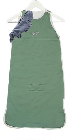 Embroidered safari bamboo sleeping bags in Green by Little Earth Baby at Nurture Collective