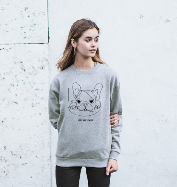 Woman wearing You Are Loved - Organic Grey Marl Womens Sweatshirt at Nurture Collective