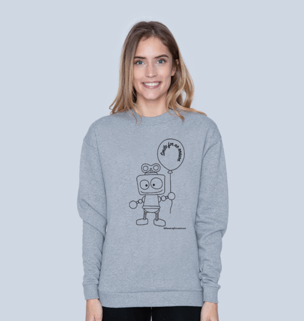 Model wearing Smile for no Reason - Organic Sweatshirt for Women at Nurture Collective