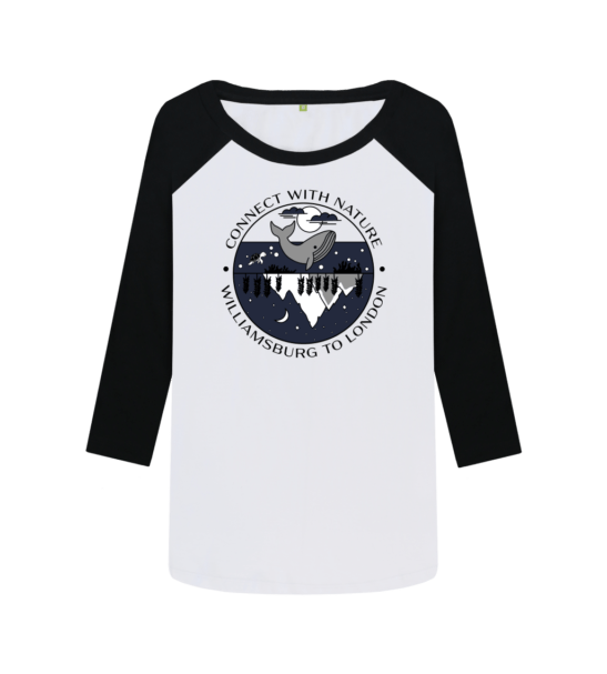 Connect With Nature - Organic Baseball Shirt for Women black sleeves and design