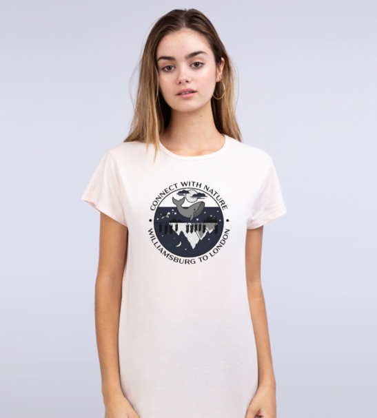 Woman wearing Connect With Nature - Organic T-Shirt for Women short sleeves and design
