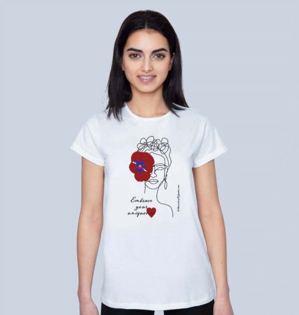 Model wearing the Embrace Your Uniqueness / Frida - Organic T-Shirt in Red for Women at Nurture Collective
