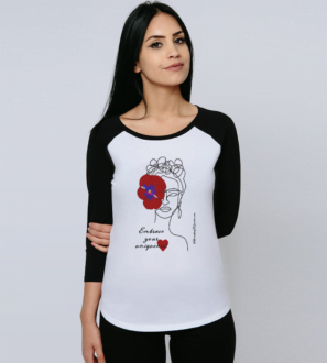 Model wearing the Embrace Your Uniqueness / Frida - Organic Baseball Shirt in Red for Women at Nurture Collective