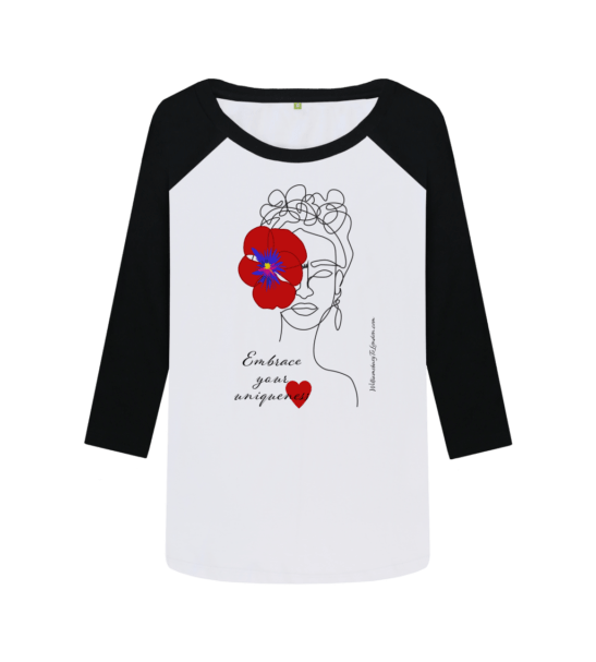 Embrace Your Uniqueness / Frida - Organic Baseball Shirt in Red for Women at Nurture Collective