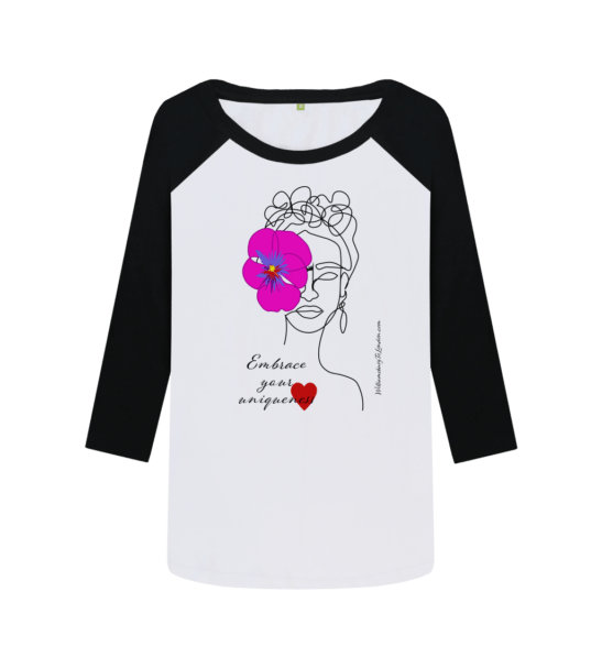 Embrace Your Uniqueness / Frida - Organic Baseball Shirt in Pink for Women at Nurture Collective