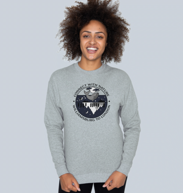 A model wearing Connect With Nature - Organic Sweatshirt for Women at Nurture Collective