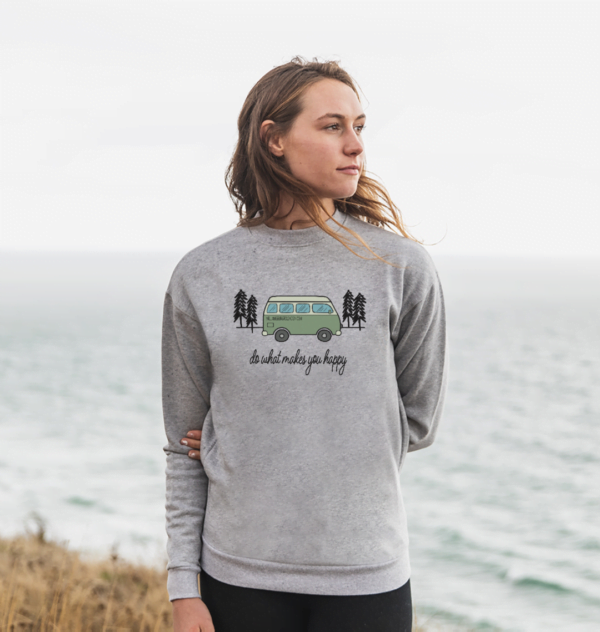 Woman wearing Do What Makes You Happy - Organic Sweatshirt for Women short sleeves and design
