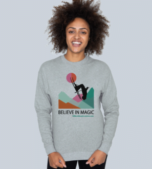 Model wearing the Believe in Magic Organic Sweater for Women at Nurture Collective