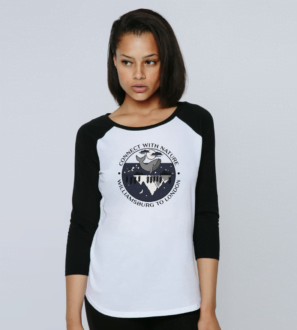 A woman wearing Connect With Nature - Organic Baseball Shirt for Women black sleeves and design at Nurture Collective