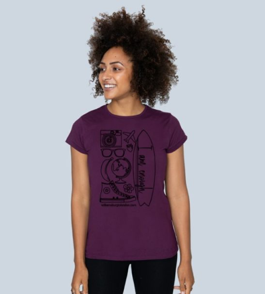 I am Enough - Organic T-Shirt for Women in wine at Nurture Collective