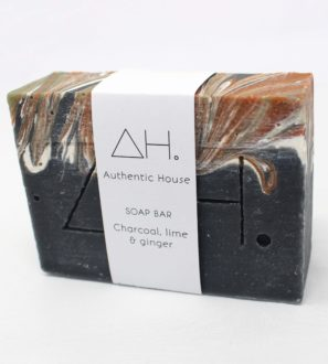 Charcoal lime ginger soap at Nurture Collective