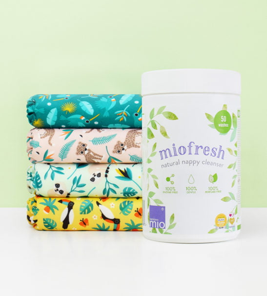BAMBINO MIO MIOFRESH (NAPPY/LAUNDRY CLEANSER), 750G Single with a nappy stack at Nurture Collective