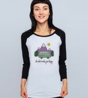 Do What Makes You Happy - Organic Baseball Shirt for Women black sleeves and design