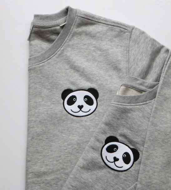Twinning Kids & Adult Panda Sweatshirts by Tommy & Lottie at Nurture Collective on a Pink background