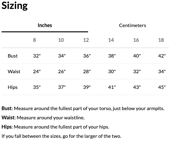 Williamsburg to London Womens sizing chart at Nurture Collective