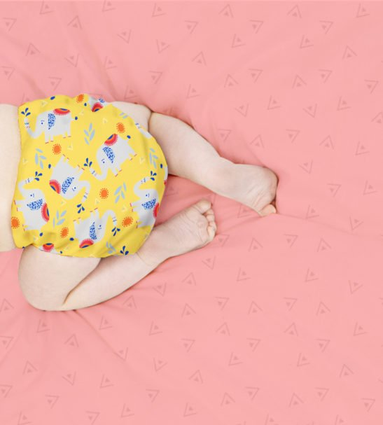 Elephant Stomp Print MIOSOLO ALL-IN-ONE REUSABLE NAPPY by Bambino Mio at Nurture Collective