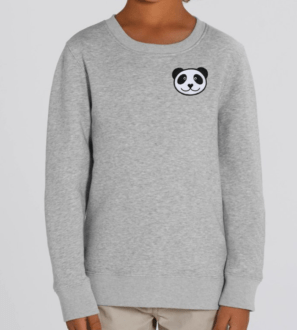 Model Wearing Panda Kids Sweatshirt by Tommy & Lottie at Nurture Collective