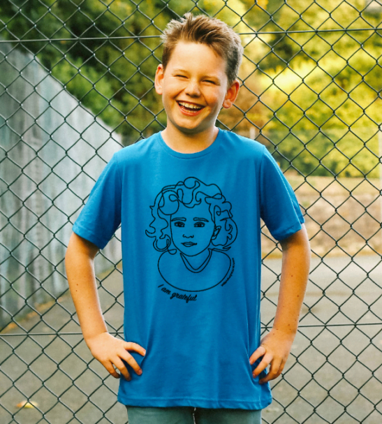 I am Grateful/ Blue- Organic T-shirt for Kids by Williamsburg to London at Nurture Collective