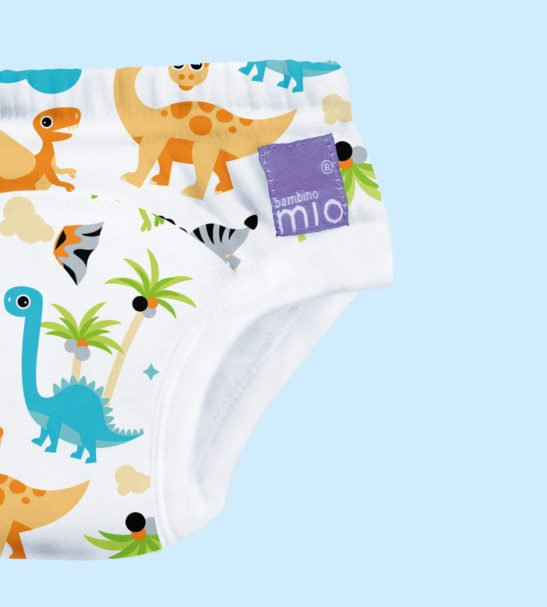 A close up of the Dino Potty Training Pants by Bambinomio at Nurture Collective