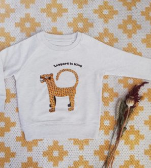Organic Leopard Print Sweatshirt by Hand of Gaia at Nurture Collective
