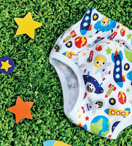 Close up of Outer Space Print Potty Training Pants by Bambinomio at Nurture Collective