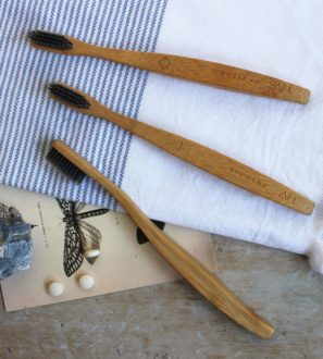 Affirmation Wooden Toothbrushes: Set of 3 Toothbrush by Authentic House at Nurture Collective