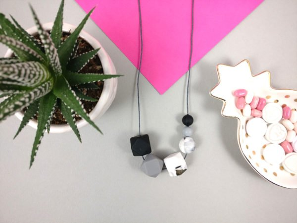 Silicone Teething Necklace - Black, Marble, Grey | New Mum Gift | Nursing necklace by Kodes at Nurture Collective