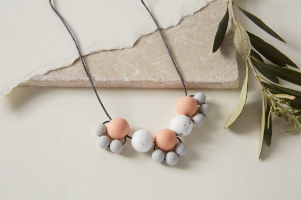 Baby Friendly Silicone Necklace - Peach Granite Grey by Kodes at Nurture Collective