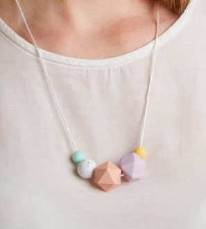 Silicone Baby Friendly Necklace - Mint, Lilac Granite & Peach | New Mum Gift | Baby Shower Gift by Kodes at Nurture Collective