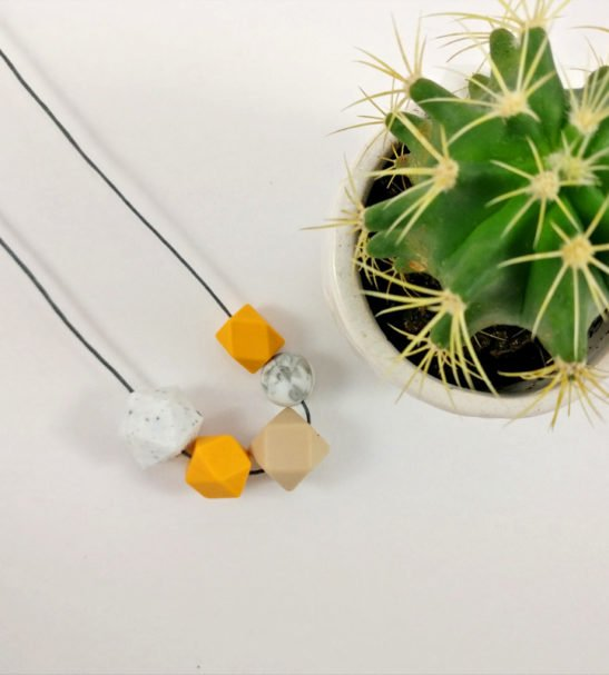 Silicone Baby Friendly Necklace - Mustard, Granite & Marble | New Mum Gift | Soother by Kodes at Nurture Collective