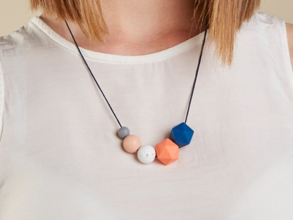 Baby Friendly Silicone Necklace - Granite, Peach, Salmon & Blue by Kodes at Nurture Collective