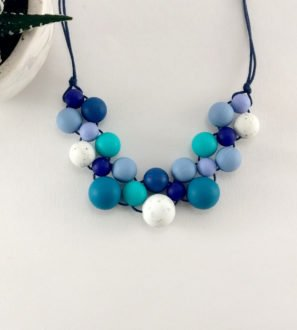 Baby Friendly Silicone Necklace - Blue Teal & Granite by Kodes at Nurture Collective
