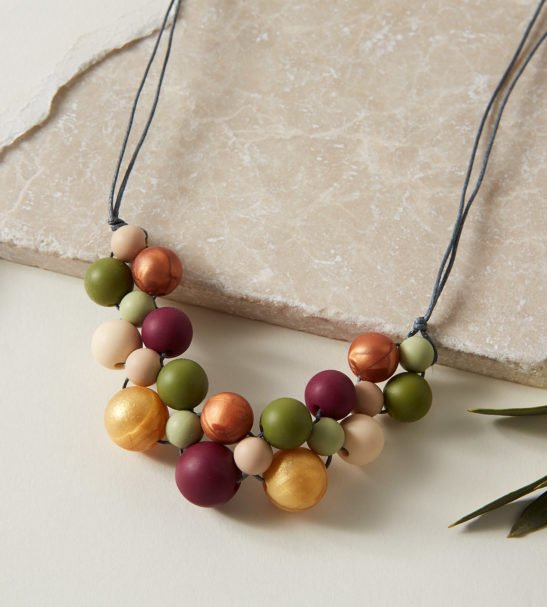 Baby Friendly Silicone Necklace Mustard Burgundy Lint, New Mum Gift Teething Necklace by Kodes at Nurture Collective