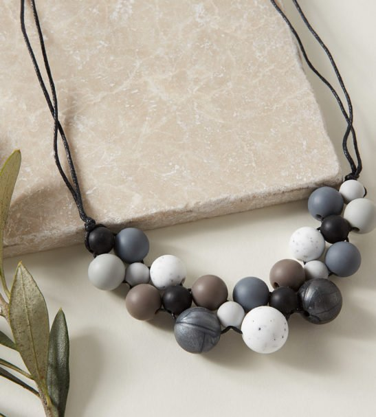 Baby Friendly Silicone Necklace - Monochrome Black, Granite by Kodes at Nurture Collective