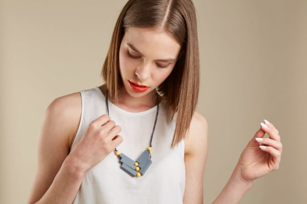 Baby Friendly Silicone Necklace - Chevrons Grey Yellow by Kodes at Nurture Collective