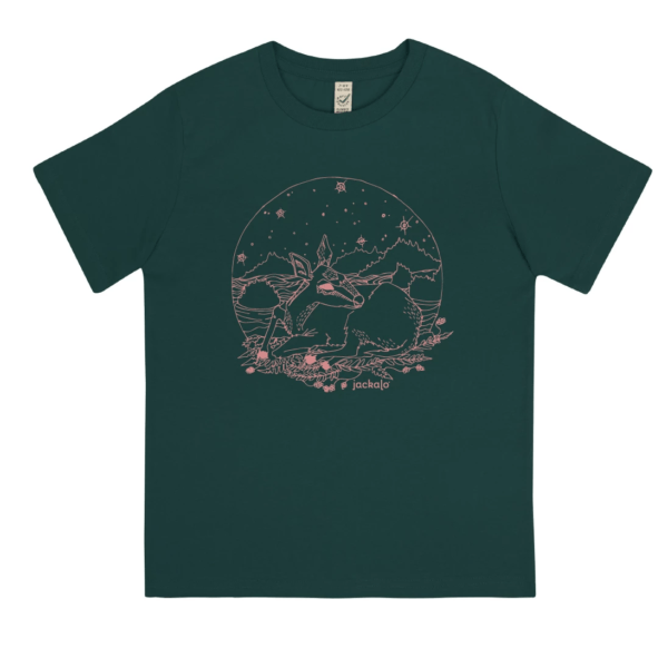 Fawn T-shirt in bottle green by Jackalo at Nurture Collective