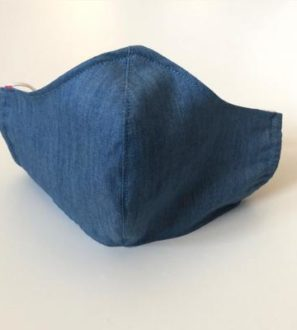 Contoured Face Masks in Denim Blue front view by Jackalo at Nurture Collective
