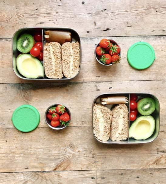 Mintie Duo Stainless Steel Lunchbox Set by Environmental Life with sandwiches and snacks at Nurture Collective