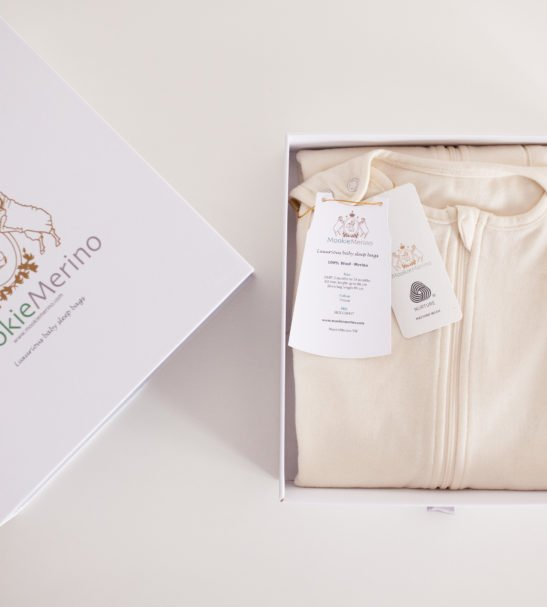 Mookie Merino Sleeping Bag folded in the presentation gift box at Nurture Collective